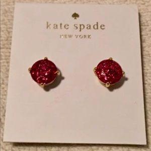 Kate Spade hot pink glitter studs